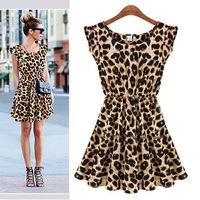 2014 Bargain Leopard Print Sexy Casual Women Summer Fashion Leopard Print Vintage Mini Dress Plus Size S-XXL 0019 Free Shipping