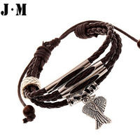 New arrival trendy owl shape rope chain zinc alloy leather bracelets, vintage punk style braid rosary bracelets for men women