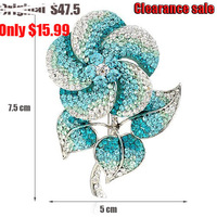 blue flower  crystal brooch huge designer brand Jewelry NEOGLORY Jewelry outlets Clearance sale last 1 piece NB-005  flash sale