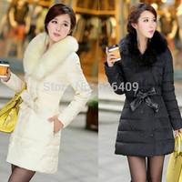 Hot Sale women fashion coat warm long fur coat slim down cotton thicken padded women parka down coat women down jacket