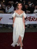 Fashion A-line Spaghetti Straps White Crystals Beading Sequins Floor Length Short Sleeve Emma Watson EveningCelebrity Dresses