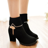 Fashion ankle boots thick heel boots female spring and autumn fashion boots ankle-length thick high-heeled boots autumn female