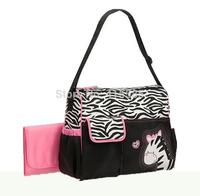 Retail free shipping Giraffe zebra mummy bag large multi function diaper bags