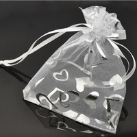 Wholesale Lots 100pcs White Heart Organza Wedding Gift Bags&Pouches Christmas Gift Candy Bags 9x12cm