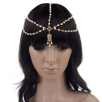 2015 New Women Fashion Metal Pearl Head Chain Jewelry Headband Head Piece Hair Band Hair Accessories