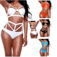 2015 Women High Waist Bandage Bikini set, Push Up Symmetrical Cut Out Swimwear Swimsuit, Bikinis bathing suit Hollow Out biquini