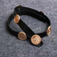 women brand wide elastic cummerbunds with carved coins women belts free shipping