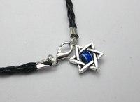 "20 Black Leatheroid Braided String Kabbalah ""Star of David"" Charms Luck Bracelet"