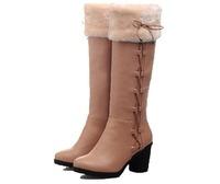 Women's Round Toe Chunky Heel Knee High Boots