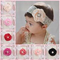 New 12Colors Chiffon Flower Bow Headband Baby Kid Rhinestone Elastic Hair Band Girl Hair Accessories 10pc Free Shipping TS-14112