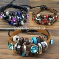 Fashion Jewelry Beaded Leather braided bracelet Infinity Charm Wrap Bracelet Free Shipping