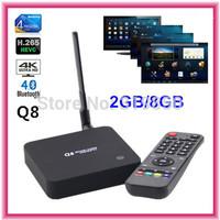 RK3288 Q8 WiFi 2.4G/5GHz Android TV BOX Quad Core 2GB/8GB Support 4K*2K H.265 3D Bluetooth 4.0 XBMC Player IPTV Mini PC