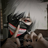 Tokyo Ghoul 2pc  Black PU Leather Mask+Eye Mask Adjustable Halloween Cosplay Party Mask Gift Present Free Shipping Wholesale