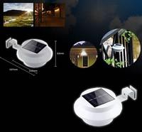 10PCS Solar Power Panel 3 LED Fence Gutter Light Outdoor Garden Wall Lobby Pathway Lamp