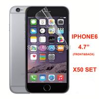 "50set (1pcs front +1pcs back+1pcs cloth in pp bag) clear screen protector film for iphone 6 4.7"""