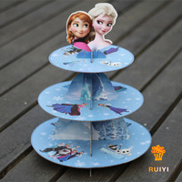 2 sets Frozen Elsa Anna Princess  girl baby shower birthday party cardboard cupcake stand hold 24 cupcakes