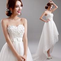 Princess bride flower tube top low-high WEDDING DRESS A8271#