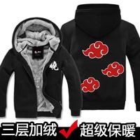New Anime Naruto Uchiha Sasuke cosplay costume fleece hoodie thickened coat winter jacket ON SALE