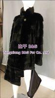 BG70760 Winter Long Style Real Mink Fur Coat For Women Black Ladies Slim Clothes Outwear Warm Big Size