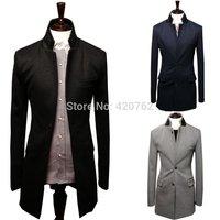 2014 Winter Mens New Fashion Slim Fit Stylish Suit Long Blazer Career Jackets Button Cardigan Black Gray Navy L XL XXL