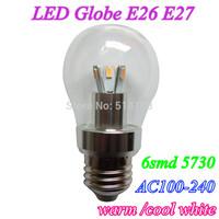 Free shipping 10X dimmable Bubble Ball Bulb AC100V-240V 6W E27 E26 6smd 5730 High power Globe light LED Light