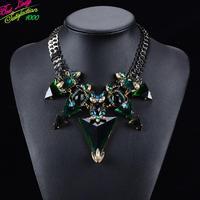 New Arrival Fashion European Big Brand Triangle Gomestry Luxury Crystal Gem Vintage Hotsale Collar za Necklace Women 9589