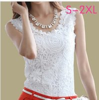 2015 new Spring Summer blouse Fashion Top Lace Casual Sleeveless Plus Size Shirts For Women Brand Quality Black White Halter Top