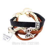 Steampunk Style Pulseiras Braceletes  PU Leatfor Women Pulseiras Femininasher Butterfly Decoration Alloy Bracelet