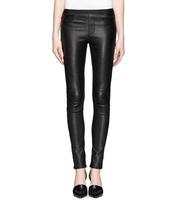 Top elastic sheepskin leather pants elastic waist slim genuine leather pencil skinny pants elastic pants female