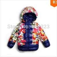 retail 2014 new fation children girls hoody Coats  baby girl flower warm duck down jacket cute Outerwear  t161