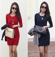 2014 New Fashion Autumn Women Korean long-sleeved cotton Dress OL temperament Slim thin dress big yards women dress winter dress