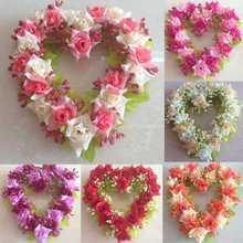 Guirnalda de la decoración del hogar del regalo de las flores artificiales Fake Flores flores de seda de Corea en forma de corazón para las decoraciones de la boda Envío Gratis(China (Mainland))