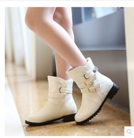 Autumn Women Boots 2014 Leather Boots Ladies Flat Bottom Ankle Boots Sapatos Femininos Fashion Boots Free Shipping