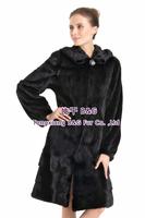 BG70806 Real Women Natural Mink Fur Coat With Hood Black Long Winter Fur Garment Big Size Customize Newest