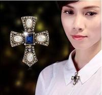 BP18  2014Fashion Brand Brooches Men Women Pearl Cross Rhinestone Wedding Pins10pcs/lot
