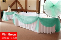 Promotion  mint green 10M*1.35M Sheer Organza Swag  Fabric wedding decoration ,Organza  Fabric  table curtain, HQ ,free shipping