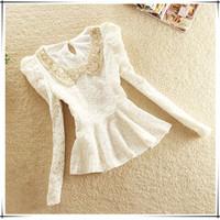 2014 autumn women's sweet slim paillette peter pan collar lace shirt long-sleeve women's top