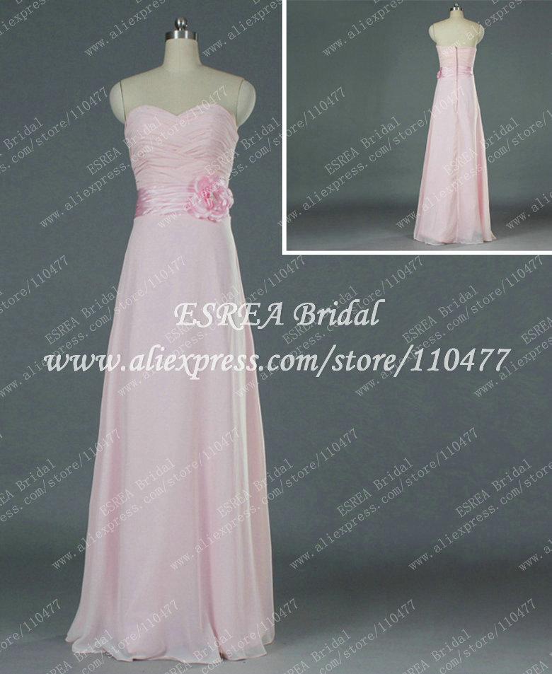Handmade Flower Sash Affortable Pleat Chiffon Long Pink Bridesmaid Dress Real Sample T1381(China (Mainland))