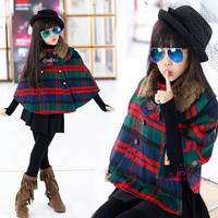 2014 plaid wool collar girl winter