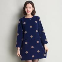 100% MINK Cashmere Sweater Women Fashion Fur Sweater Winter Thick Long Design Dot Design M L XL Red Grey Blue