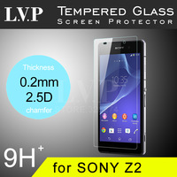 2014 New Premium Tempered Glass Screen Protector for Sony Xperia Z2 Tempered Glass Protective Film 0.2mm 2.5D With Package !