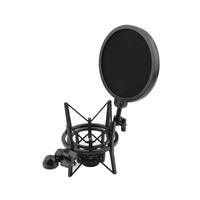 1set Shock Mount  Microphone Stand Holder with Integrated Pop Filter Black Kit