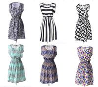 New collection sleeveless vest printed Dress 2015 New fashion  floral print Elastic Waist Bohemian Beach Dresses