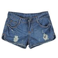 Women's Denim Distressed Light Wash Jeans Punk Night Club Wearing Shorts Hole Skinny Sexy Shorts Classic Five Pockets Styling