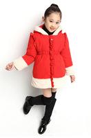 2014 Girls coat Girls winter Jacket  Children's winter Coat Kids patchwork thick velvet clothes red/green/pink