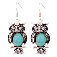 Jewelry Charming Crystal Tibetan Silver Turquoise Owl Drop Dangle Earrings Christmas Gift for Women