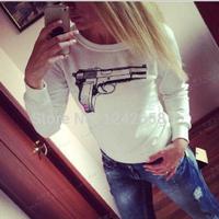 free shipping 2014 Hot-selling sweatshirt fashion personalized print sexy wild sexy plus size pullover basic shirt