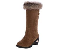 Womens Mid High Wedge Heel Winter fur boots