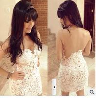free shipping 2014 new women's sexy slim short white crochet gauze patchwork cutout one-piece dress size S-XL