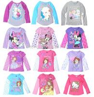 retail Children/kids/girls Frozen autumn/spring clothing / top / long sleeve T-shirt / under-clothing/christmas gift for girl